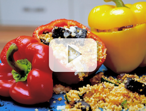 Stuffed Bell Peppers with Hodgins Black Pudding, CousCous & Roasted Vegetables.